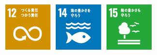 SDGs12:つくる責任使う責任 SDGs14:海の豊かさを守ろう SDGs15陸の豊かさも守ろう