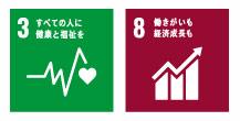 SDGs:すべての人々に健康と福祉を SDGs8:働きがいも経済成長も